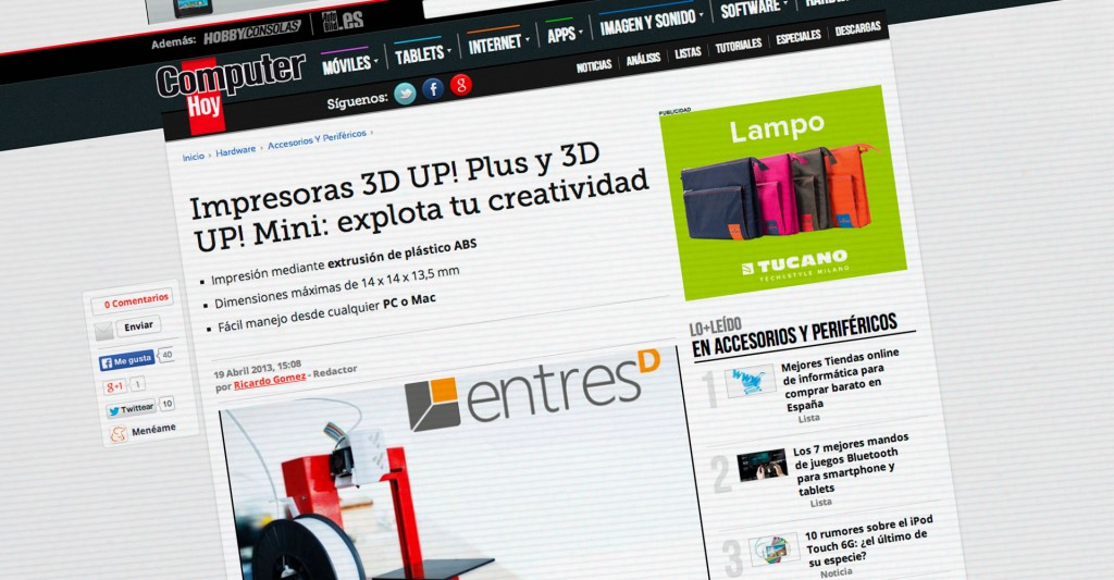 Impresoras 3D UP! Plus y 3D UP! Mini: explota tu creatividad. Computer Hoy